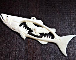 37.5 Carat Weight Carved Bone Fish / Eagle Pendant - Cool Carving