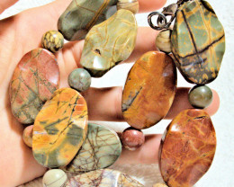 765.5 Tcw. Natural Picasso Jasper Beaded Necklace - Beautiful