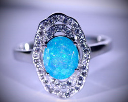 Blue Opal 1.80ct Platinum Finish Solid 925 Sterling Silver Ring