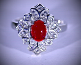 Red Opal .82ct Platinum Finish Solid 925 Sterling Silver Ring