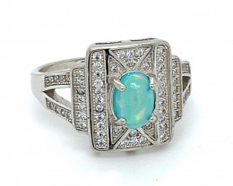 Blue Opal .75ct Platinum Finish Solid 925 Sterling Silver Ring