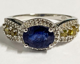 Stylish Natural Sapphire , Diamond And Topaz Ring ~ Silver