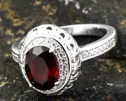 Genuine .925 Sterling Silver Red Garnet Ring Size 8