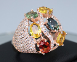 Fabulous Natural Multi Sapphire,  CZ & 925 Rose Gold Sterling  Fancy Silver