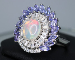 Spectacular Natural Opal, Tanzanite, CZ & 925 Fancy Sterling  Sil