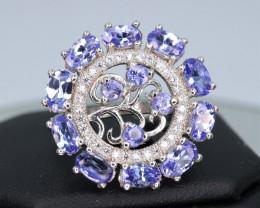 Fabulous Natural Tanzanite, CZ & 925 Fancy Stylish Design Ring