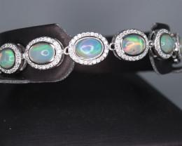 Fabulous Natural Fire Opal, CZ &  Beautiful Fancy 925 Sterling  Silver Brac