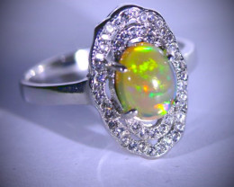 Opal 1.90ct Platinum Finish Solid 925 Sterling Silver Ring