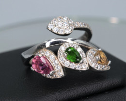 Beautiful Natural Tourmaline, CZ & 925 Fancy Sterling  Silver Ring