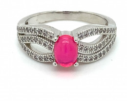 Pink Opal .95ct Platinum Finish Solid 925 Sterling Silver Ring