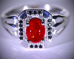 Red Opal 1.45ct Platinum Finish Solid 925 Sterling Silver Ring