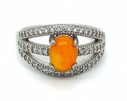 Orange Opal 1.19ct Platinum Finish Solid 925 Sterling Silver Ring