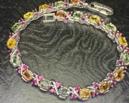 Natural Fancy Sapphire with Rhodolite Garnet Bracelet l
