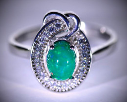 Green Opal .80ct Platinum Finish Solid 925 Sterling Silver Ring