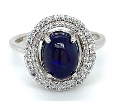 Blue Opal 1.78ct Platinum Finish Solid 925 Sterling Silver Ring