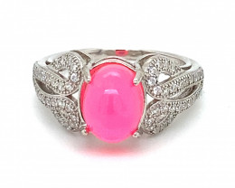 Pink Opal 2.40ct Platinum Finish Solid 925 Sterling Silver Ring