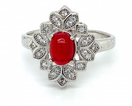 Red Opal 1.10ct Platinum Finish Solid 925 Sterling Silver Ring