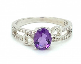 Amethyst 1.01ct Platinum Finish Solid 925 Sterling Silver Ring