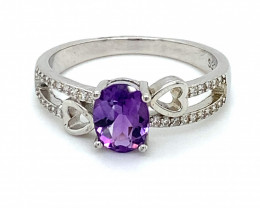 Amethyst 1.40ct Platinum Finish Solid 925 Sterling Silver Ring