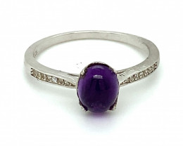 Amethyst 2.05ct Platinum Finish Solid 925 Sterling Silver Ring