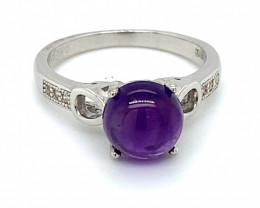 Amethyst 2.20ct Platinum Finish Solid 925 Sterling Silver Ring