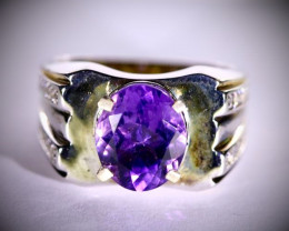Amethyst 3.19ct Solid 925 Sterling Silver Ring