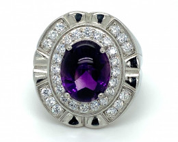 Amethyst 7.70ct Platinum Finish Solid 925 Sterling Silver Ring
