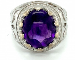 Amethyst 8.90ct Platinum Finish Solid 925 Sterling Silver Ring