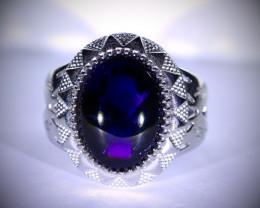 Amethyst 12.00ct Platinum Finish Solid 925 Sterling Silver Ring