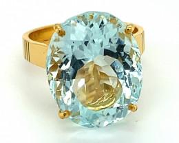 GIA Aquamarine 15.56ct Solid 22K Yellow Gold Ring
