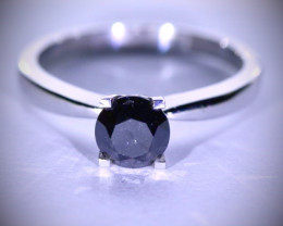 Black Diamond 1.30ct Solid 14K White Gold Ring
