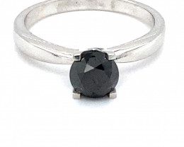 Black Diamond 1.30ct Solid 14K White Gold Ring