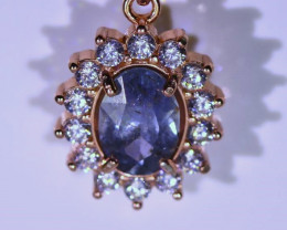 Blue Sapphire 1.40ct Rose Gold Finish Solid Sterling Silver Pendant UNTREAT