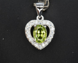 Natural Green Peridot 14.96 Cts CZ and  Silver Pendant
