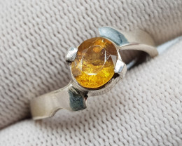 Natural Fire Sphene (Titanite) 17.10 Carats 925 Hand Made Silver Ring