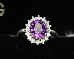 Heart Touching 23.60 Ct Natural Amethyst Ring  With 925 Silver