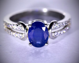Blue Sapphire 1.47ct Platinum Finish Solid 925 Sterling Silver Ring