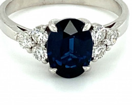 Blue Sapphire 1.70ct Natural Diamonds Solid 14K White Gold Ring
