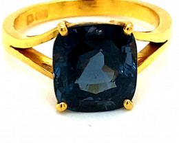 Blue Spinel 5.93ct GIA Certified Solid 22K Yellow Gold Solitaire Ring, Natu