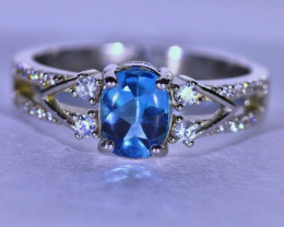 Blue Topaz 1.16ct Platinum Finish Solid 925 Sterling Silver Ring
