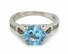 Blue Topaz 1.80ct Platinum Finish Solid 925 Sterling Silver Ring