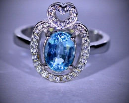 Blue Topaz 2.16ct Platinum Finish Solid 925 Sterling Silver Ring