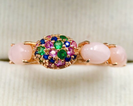 Natural Pink Opal with CZ Rose Gold 925 Sterling Ring