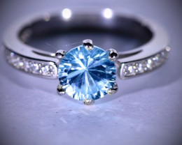 Blue Topaz 2.87ct Platinum Finish Solid 925 Sterling Silver Ring