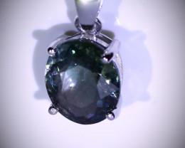 Blue Tourmaline 3.02ct Platinum Finish Solid Sterling Silver Pendant