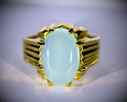 Cats Eye Green Calcite 5.10ct Solid 18K Yellow Gold Ring