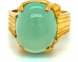 Cats Eye Green Calcite 11.75ct Solid 18K Yellow Gold Ring