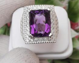 9.20 Ct Natural Amethyst 925 Silver Ring