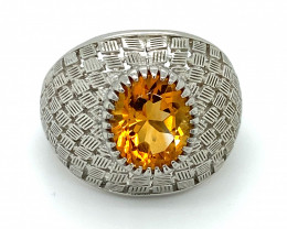 Citrine 3.52ct Platinum Finish Solid 925 Sterling Silver Ring