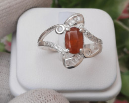 Natural Spessartite Garnate 925 Silver Ring